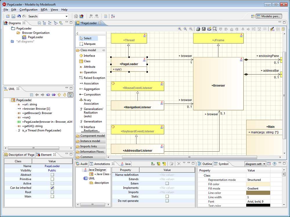 Static diagrams with Modelio Modeler