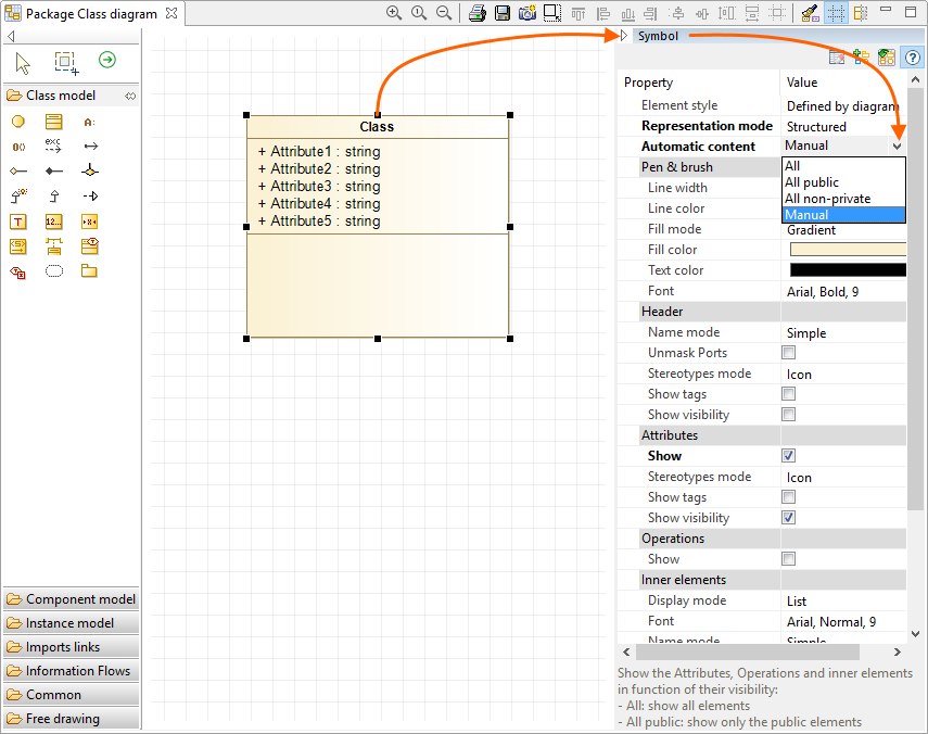 Solved Unable To Mask Attributes In A Class Diagram Modelio Forum